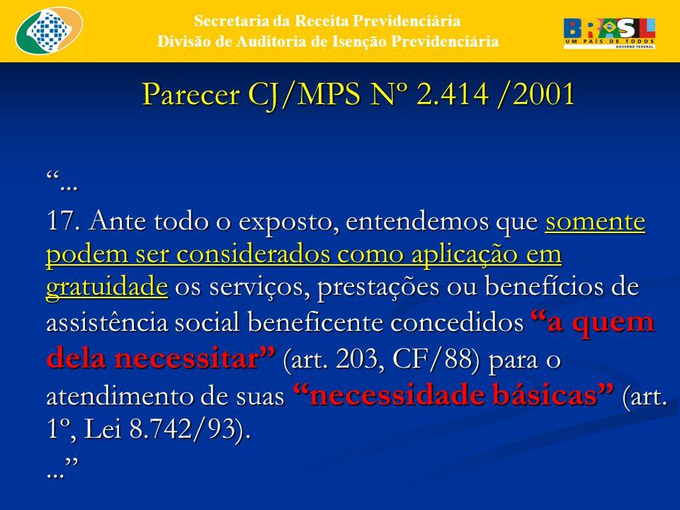 Parecer CJ/MPS Nº 2.414 /2001 ...17.
