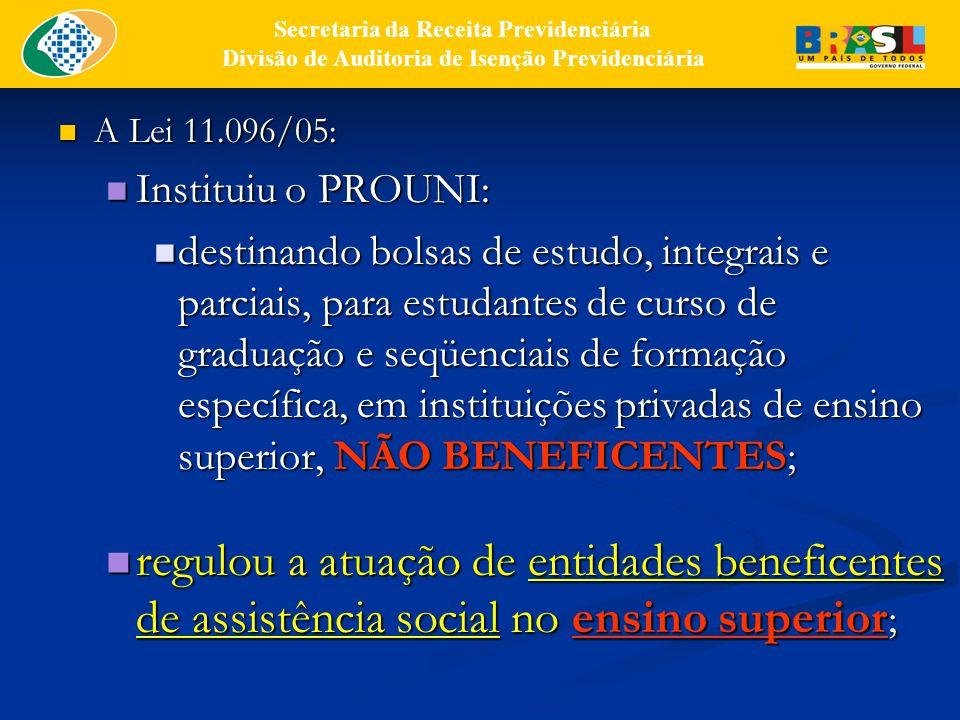 A Lei 11.096/05: A Lei 11.096/05: Instituiu o PROUNI: Instituiu o PROUNI: destinando bolsas de estudo, integrais e parciais, para estudantes de curso de graduação e seqüenciais de formação específica, em instituições privadas de ensino superior, NÃO BENEFICENTES; destinando bolsas de estudo, integrais e parciais, para estudantes de curso de graduação e seqüenciais de formação específica, em instituições privadas de ensino superior, NÃO BENEFICENTES; regulou a atuação de entidades beneficentes de assistência social no ensino superior ; regulou a atuação de entidades beneficentes de assistência social no ensino superior ; Secretaria da Receita Previdenciária Divisão de Auditoria de Isenção Previdenciária