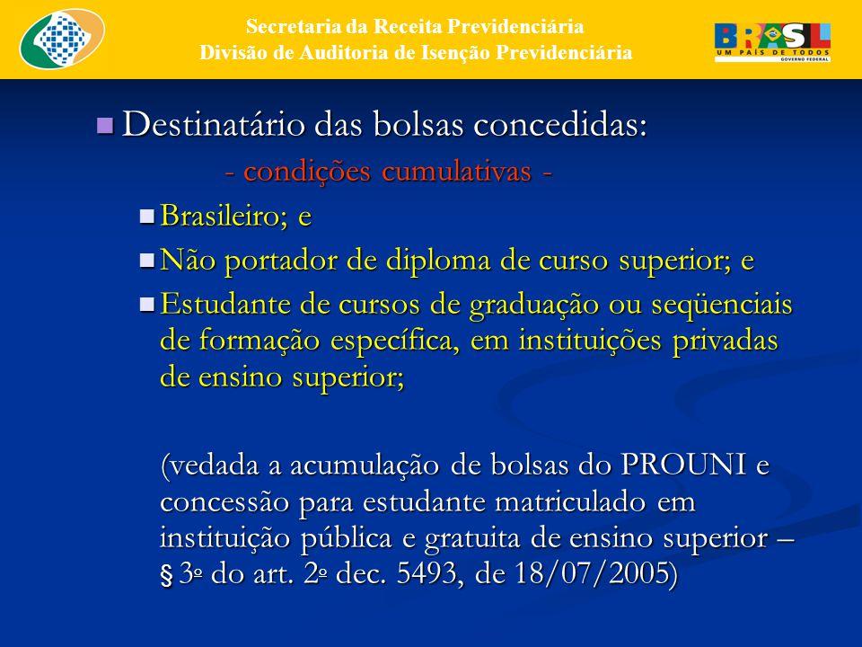 Destinatário das bolsas concedidas: Destinatário das bolsas concedidas: - condições cumulativas - Brasileiro; e Brasileiro; e Não portador de diploma de curso superior; e Não portador de diploma de curso superior; e Estudante de cursos de graduação ou seqüenciais de formação específica, em instituições privadas de ensino superior; Estudante de cursos de graduação ou seqüenciais de formação específica, em instituições privadas de ensino superior; (vedada a acumulação de bolsas do PROUNI e concessão para estudante matriculado em instituição pública e gratuita de ensino superior – § 3 o do art.