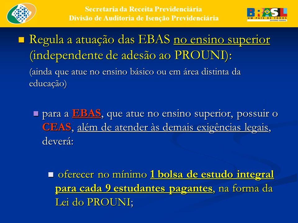 Regula a atuação das EBAS no ensino superior (independente de adesão ao PROUNI): Regula a atuação das EBAS no ensino superior (independente de adesão ao PROUNI): (ainda que atue no ensino básico ou em área distinta da educação) para a EBAS, que atue no ensino superior, possuir o CEAS, além de atender às demais exigências legais, deverá: para a EBAS, que atue no ensino superior, possuir o CEAS, além de atender às demais exigências legais, deverá: oferecer no mínimo 1 bolsa de estudo integral para cada 9 estudantes pagantes, na forma da Lei do PROUNI; oferecer no mínimo 1 bolsa de estudo integral para cada 9 estudantes pagantes, na forma da Lei do PROUNI; Secretaria da Receita Previdenciária Divisão de Auditoria de Isenção Previdenciária