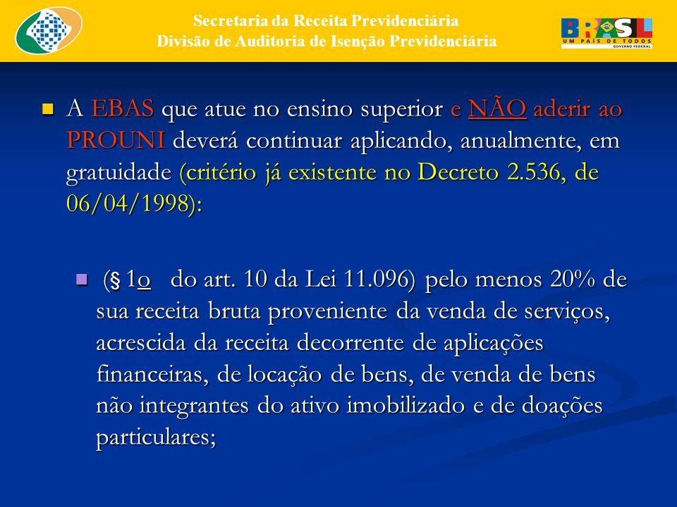 A EBAS que atue no ensino superior e NÃO aderir ao PROUNI deverá continuar aplicando, anualmente, em gratuidade (critério já existente no Decreto 2.536, de 06/04/1998): A EBAS que atue no ensino superior e NÃO aderir ao PROUNI deverá continuar aplicando, anualmente, em gratuidade (critério já existente no Decreto 2.536, de 06/04/1998): ( § 1o do art.