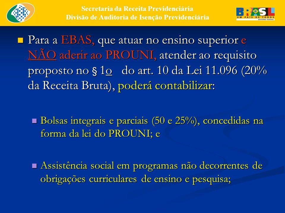 Para a EBAS, que atuar no ensino superior e NÃO aderir ao PROUNI, atender ao requisito proposto no § 1o do art.