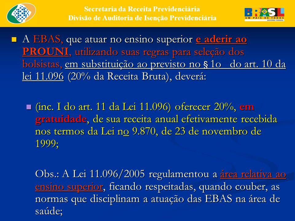 A EBAS, que atuar no ensino superior e aderir ao PROUNI, utilizando suas regras para seleção dos bolsistas, em substituição ao previsto no § 1o do art.