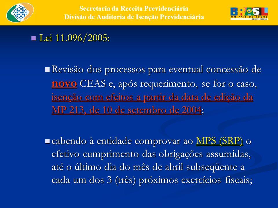 Lei 11.096/2005: Lei 11.096/2005: Revisão dos processos para eventual concessão de novo CEAS e, após requerimento, se for o caso, isenção com efeitos a partir da data de edição da MP 213, de 10 de setembro de 2004; Revisão dos processos para eventual concessão de novo CEAS e, após requerimento, se for o caso, isenção com efeitos a partir da data de edição da MP 213, de 10 de setembro de 2004; cabendo à entidade comprovar ao MPS (SRP) o efetivo cumprimento das obrigações assumidas, até o último dia do mês de abril subseqüente a cada um dos 3 (três) próximos exercícios fiscais; cabendo à entidade comprovar ao MPS (SRP) o efetivo cumprimento das obrigações assumidas, até o último dia do mês de abril subseqüente a cada um dos 3 (três) próximos exercícios fiscais; Secretaria da Receita Previdenciária Divisão de Auditoria de Isenção Previdenciária