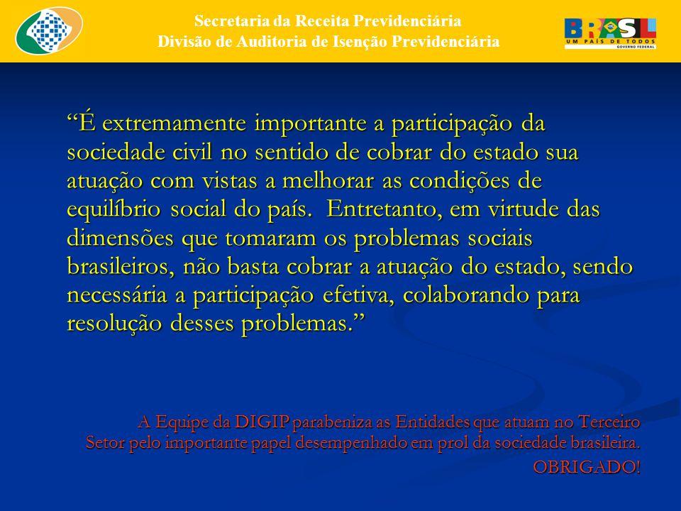 É extremamente importante a participação da sociedade civil no sentido de cobrar do estado sua atuação com vistas a melhorar as condições de equilíbrio social do país.