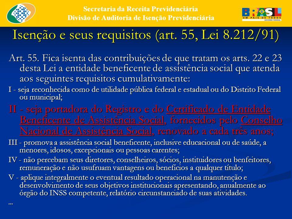 Isenção e seus requisitos (art.55, Lei 8.212/91) Art.