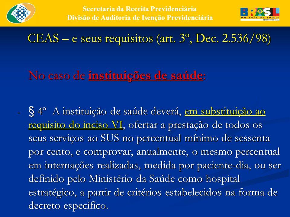 CEAS – e seus requisitos (art.3º, Dec. 2.536/98) No caso de atuações simultâneas: § 11.