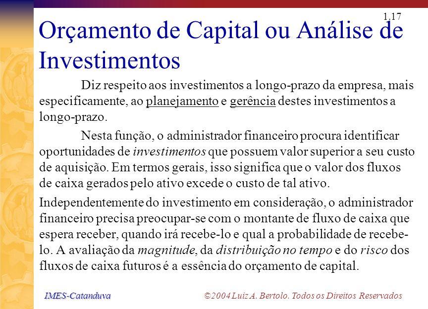 IMES-Catanduva IMES-Catanduva ©2004 Luiz A. Bertolo. Todos os Direitos Reservados 1.16 As Áreas da Administração de Finanças Empresariais ORÇAMENTO DE