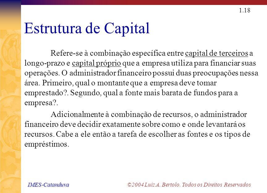 IMES-Catanduva IMES-Catanduva ©2004 Luiz A. Bertolo. Todos os Direitos Reservados 1.17 Orçamento de Capital ou Análise de Investimentos Diz respeito a