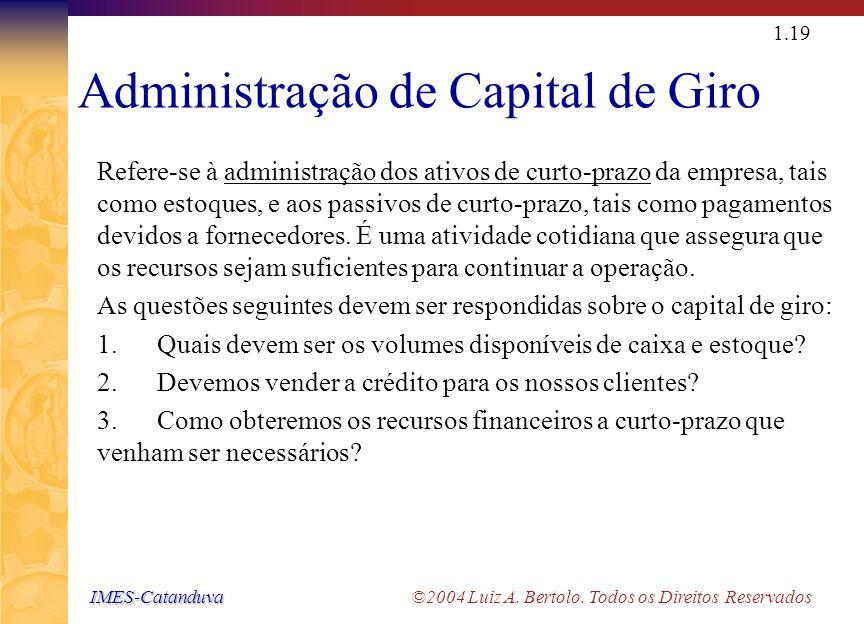 IMES-Catanduva IMES-Catanduva ©2004 Luiz A. Bertolo. Todos os Direitos Reservados 1.18 Estrutura de Capital Refere-se à combinação específica entre ca
