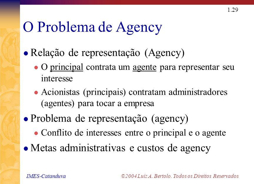 IMES-Catanduva IMES-Catanduva ©2004 Luiz A. Bertolo. Todos os Direitos Reservados 1.28 A Quem os Administradores Financeiros Devem Servir? Os administ
