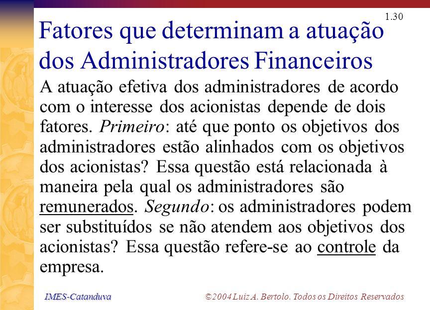 IMES-Catanduva IMES-Catanduva ©2004 Luiz A. Bertolo. Todos os Direitos Reservados 1.29 O Problema de Agency Relação de representação (Agency) O princi