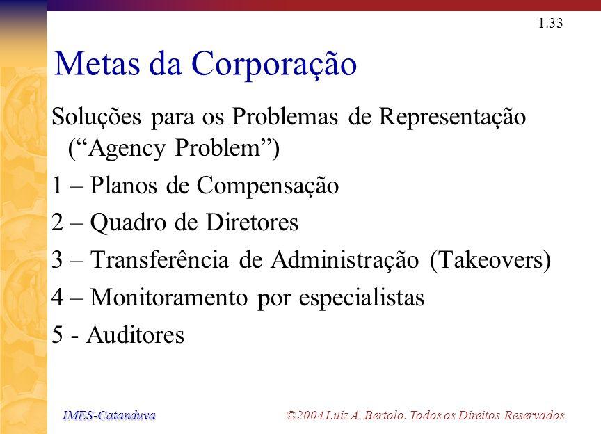 IMES-Catanduva IMES-Catanduva ©2004 Luiz A. Bertolo. Todos os Direitos Reservados 1.32 Grupos de Interesse (stakeholders ) Será que somente os adminis
