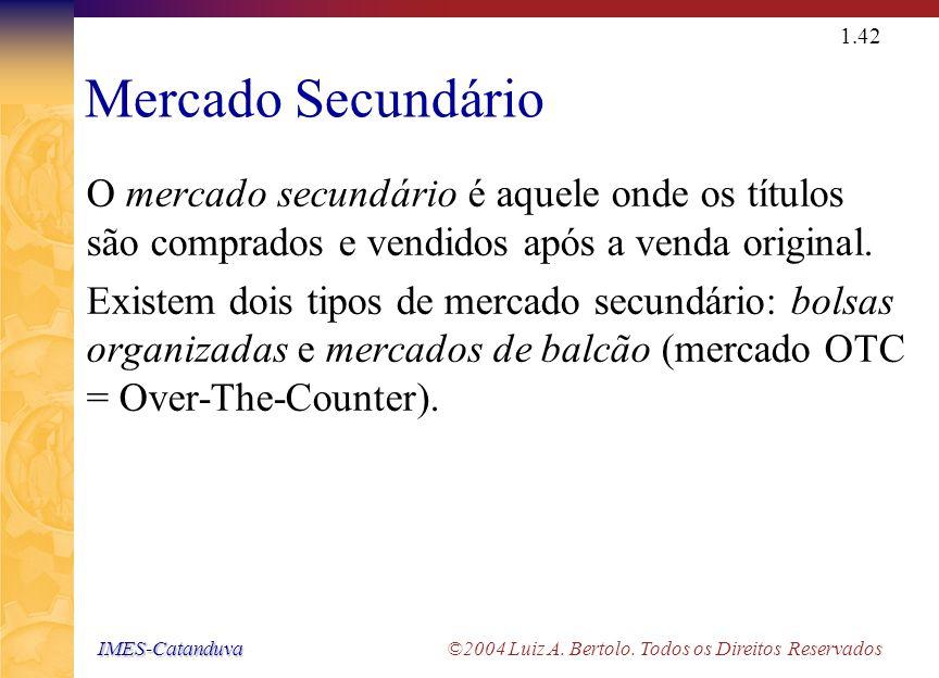 IMES-Catanduva IMES-Catanduva ©2004 Luiz A. Bertolo. Todos os Direitos Reservados 1.41 Mercado Primário O mercado primário refere-se à venda original
