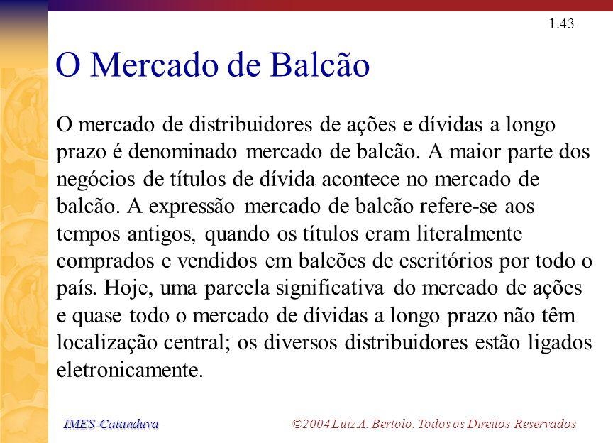IMES-Catanduva IMES-Catanduva ©2004 Luiz A. Bertolo. Todos os Direitos Reservados 1.42 Mercado Secundário O mercado secundário é aquele onde os título