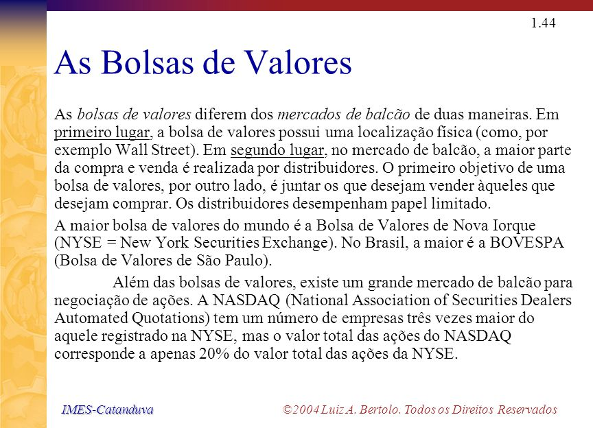 IMES-Catanduva IMES-Catanduva ©2004 Luiz A. Bertolo. Todos os Direitos Reservados 1.43 O Mercado de Balcão O mercado de distribuidores de ações e dívi