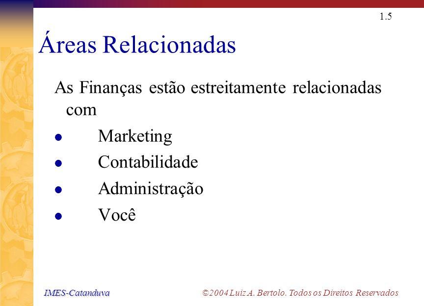 IMES-Catanduva IMES-Catanduva ©2004 Luiz A. Bertolo. Todos os Direitos Reservados 1.4 Áreas Básicas de Finanças Finanças Empresariais (Corporate Finan