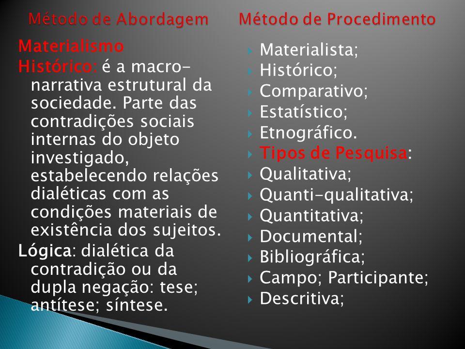 Materialismo Histórico: é a macro- narrativa estrutural da sociedade. Parte das contradições sociais internas do objeto investigado, estabelecendo rel