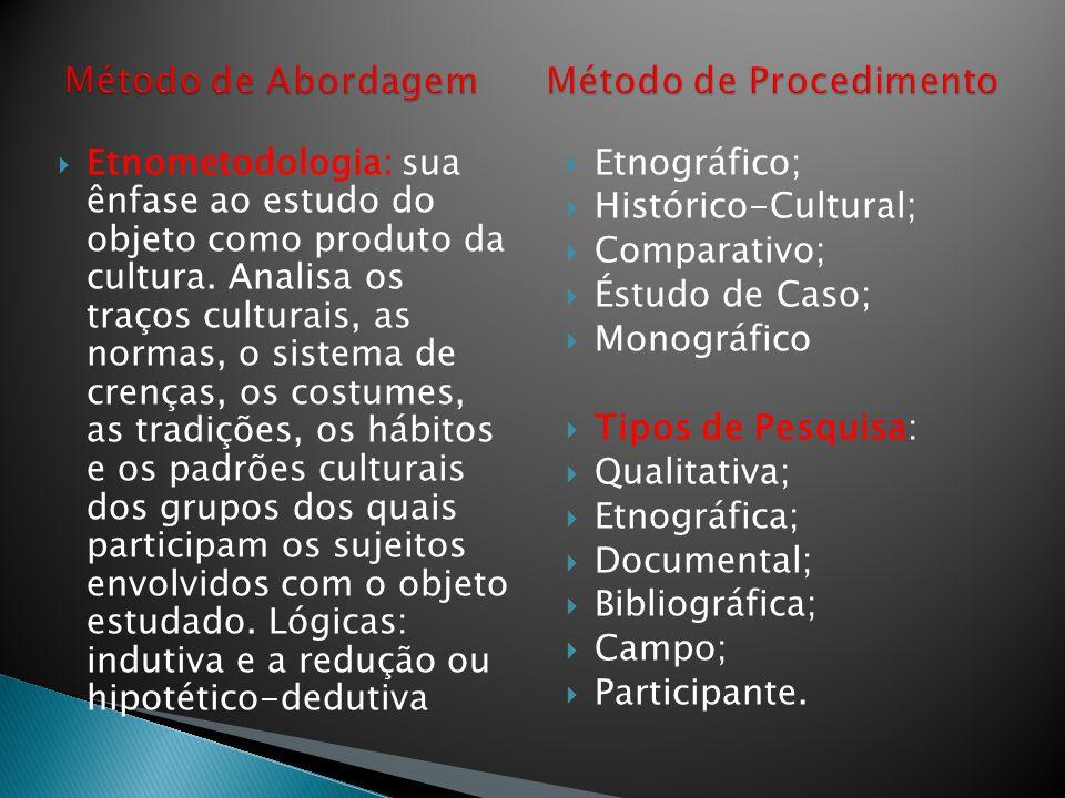  Etnometodologia: sua ênfase ao estudo do objeto como produto da cultura. Analisa os traços culturais, as normas, o sistema de crenças, os costumes,