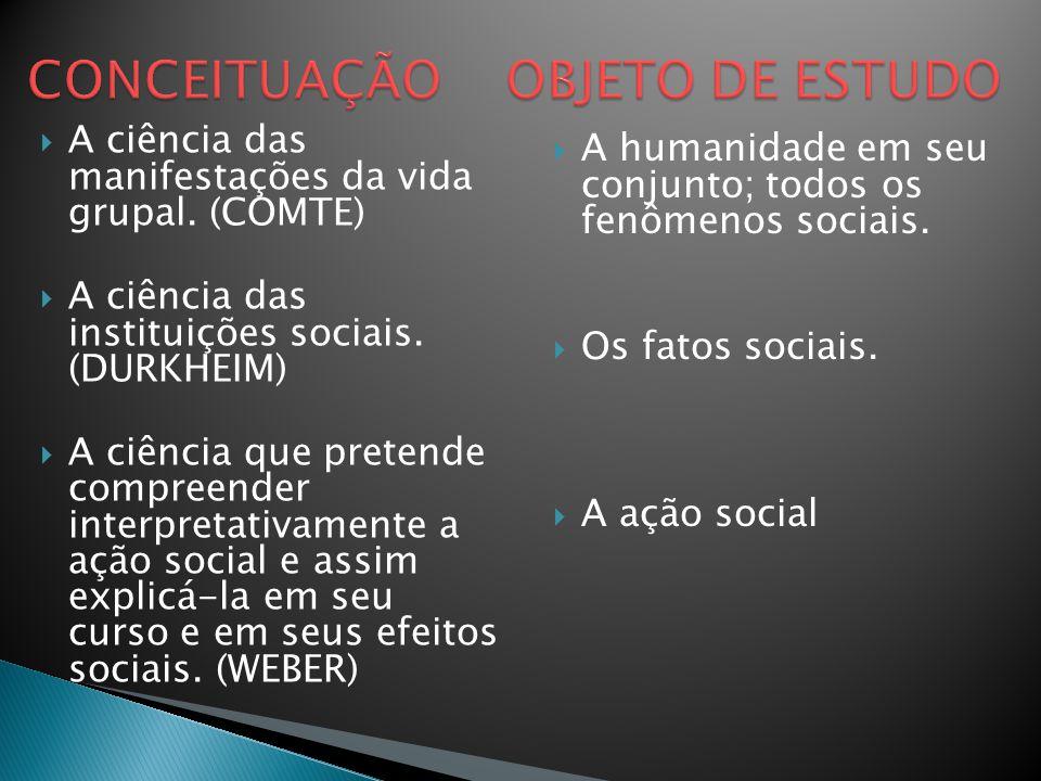  A ciência das manifestações da vida grupal. (COMTE)  A ciência das instituições sociais. (DURKHEIM)  A ciência que pretende compreender interpreta