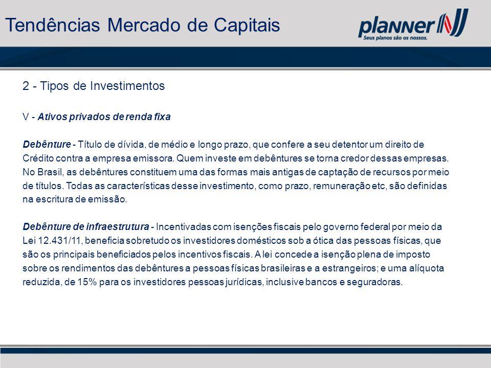 2 - Tipos de Investimentos V - Ativos privados de renda fixa Debênture - Título de dívida, de médio e longo prazo, que confere a seu detentor um direito de Crédito contra a empresa emissora.
