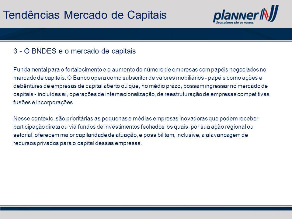 3 - O BNDES e o mercado de capitais Fundamental para o fortalecimento e o aumento do número de empresas com papéis negociados no mercado de capitais.