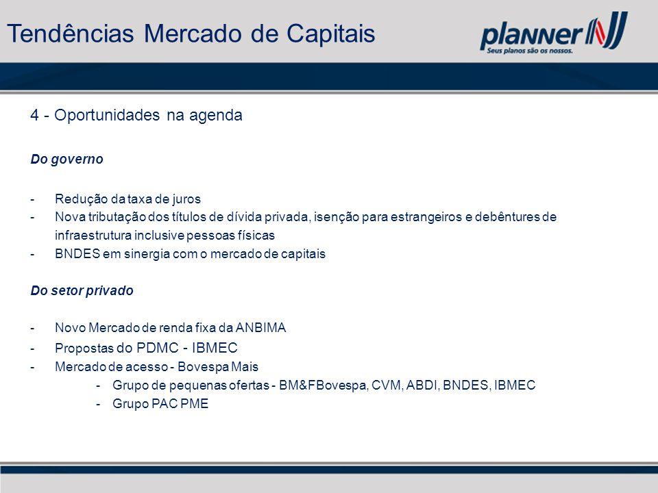 4 - Oportunidades na agenda Do governo -Redução da taxa de juros -Nova tributação dos títulos de dívida privada, isenção para estrangeiros e debêntures de infraestrutura inclusive pessoas físicas -BNDES em sinergia com o mercado de capitais Do setor privado -Novo Mercado de renda fixa da ANBIMA -Propostas do PDMC - IBMEC -Mercado de acesso - Bovespa Mais -Grupo de pequenas ofertas - BM&FBovespa, CVM, ABDI, BNDES, IBMEC -Grupo PAC PME Tendências Mercado de Capitais