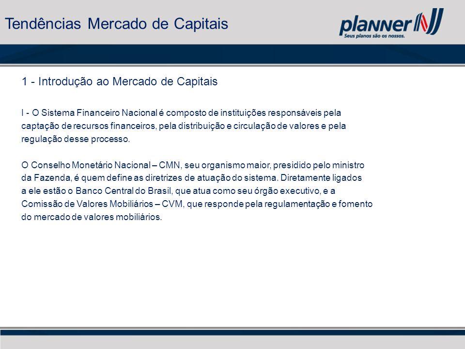 1 - Introdução ao Mercado de Capitais I - O Sistema Financeiro Nacional é composto de instituições responsáveis pela captação de recursos financeiros, pela distribuição e circulação de valores e pela regulação desse processo.
