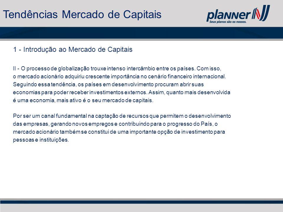 1 - Introdução ao Mercado de Capitais II - O processo de globalização trouxe intenso intercâmbio entre os países.