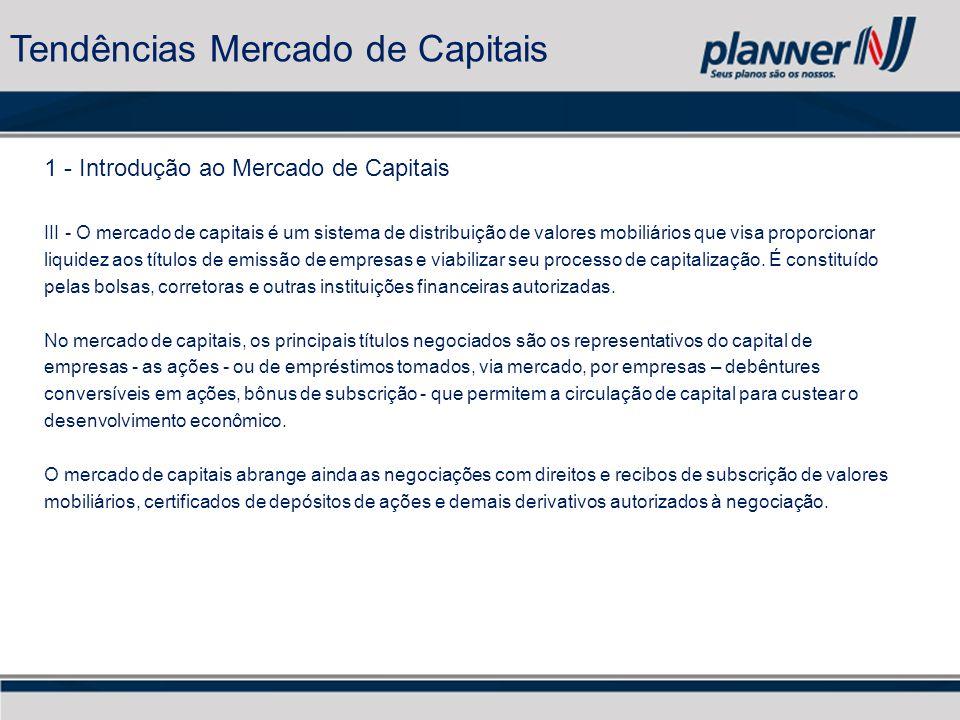 1 - Introdução ao Mercado de Capitais III - O mercado de capitais é um sistema de distribuição de valores mobiliários que visa proporcionar liquidez aos títulos de emissão de empresas e viabilizar seu processo de capitalização.