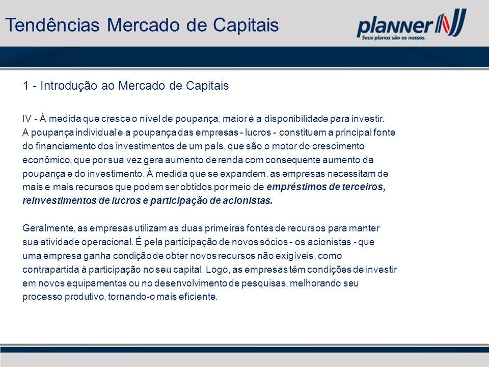1 - Introdução ao Mercado de Capitais IV - À medida que cresce o nível de poupança, maior é a disponibilidade para investir.