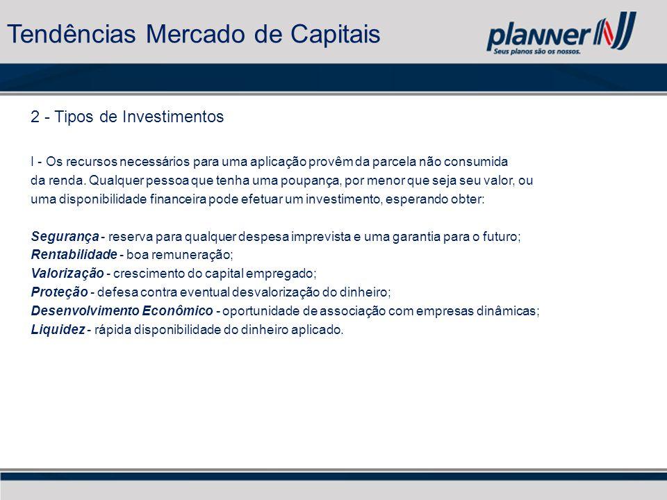 2 - Tipos de Investimentos I - Os recursos necessários para uma aplicação provêm da parcela não consumida da renda.