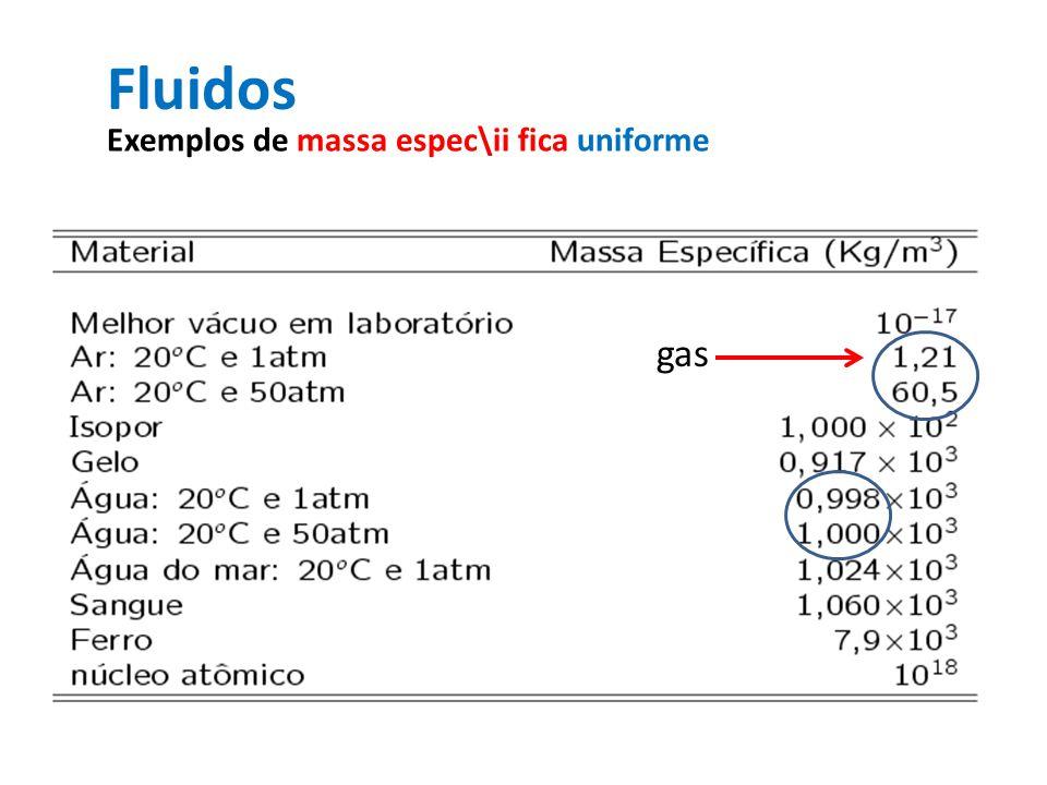 Fluidos Exemplos de massa espec\ii fica uniforme gas liquido Fim da Aula1