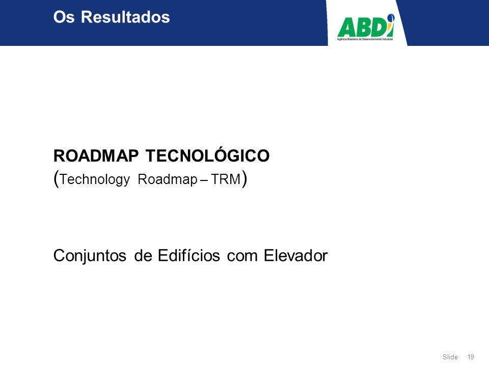 Slide 19 ROADMAP TECNOLÓGICO ( Technology Roadmap – TRM ) Conjuntos de Edifícios com Elevador Os Resultados