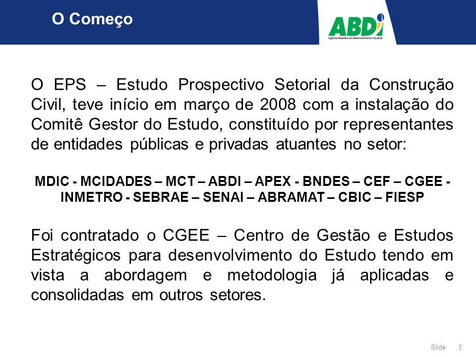 Slide 3 O Começo O EPS – Estudo Prospectivo Setorial da Construção Civil, teve início em março de 2008 com a instalação do Comitê Gestor do Estudo, constituído por representantes de entidades públicas e privadas atuantes no setor: MDIC - MCIDADES – MCT – ABDI – APEX - BNDES – CEF – CGEE - INMETRO - SEBRAE – SENAI – ABRAMAT – CBIC – FIESP Foi contratado o CGEE – Centro de Gestão e Estudos Estratégicos para desenvolvimento do Estudo tendo em vista a abordagem e metodologia já aplicadas e consolidadas em outros setores.