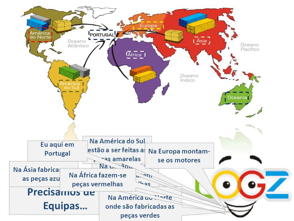 Precisamos de 7 Equipas… Na Oceânia onde também se fazem peças vermelhas Na América do Sul estão a ser feitas as peças amarelas Na América do Norte onde são fabricadas as peças verdes Na Ásia fabricam-se as peças azuis Eu aqui em Portugal Na Europa montam- se os motores Na África fazem-se peças vermelhas