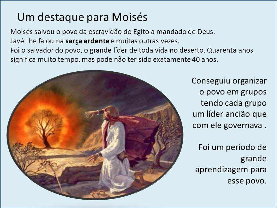 Um destaque para Moisés Moisés salvou o povo da escravidão do Egito a mandado de Deus. Javé lhe falou na sarça ardente e muitas outras vezes. Foi o sa