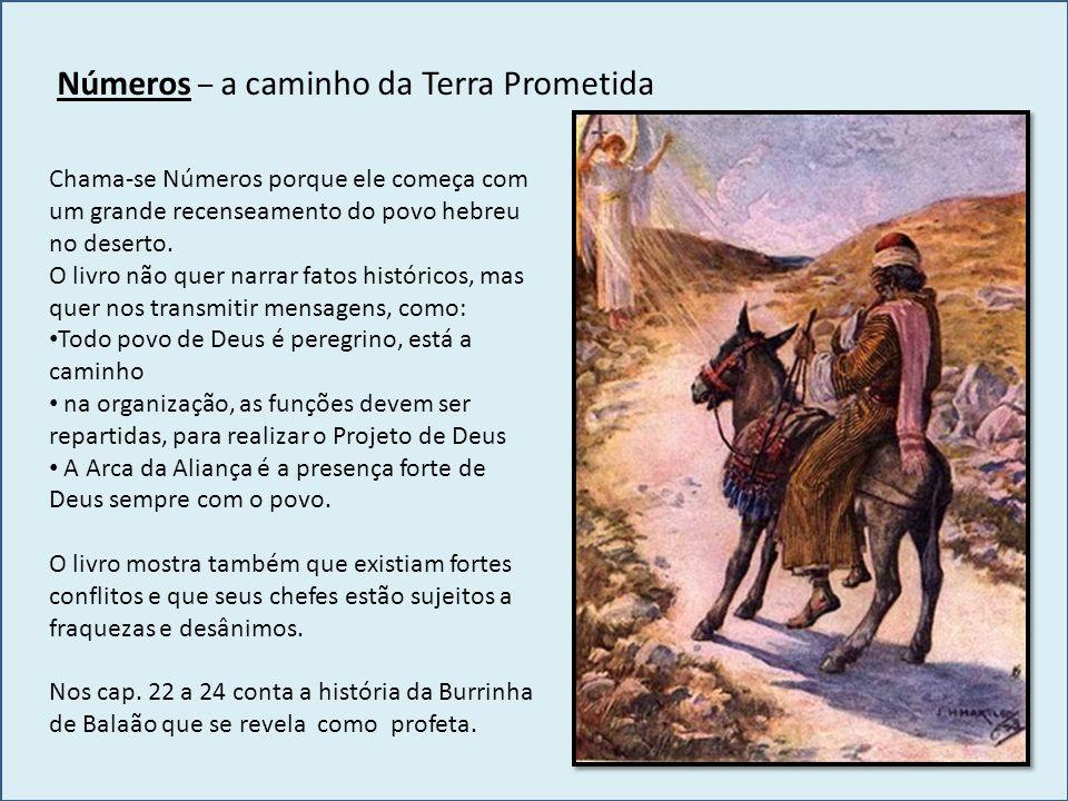Números – a caminho da Terra Prometida Chama-se Números porque ele começa com um grande recenseamento do povo hebreu no deserto. O livro não quer narr