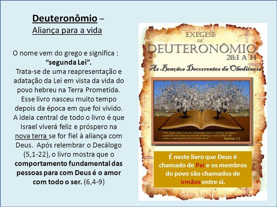 """Deuteronômio – Aliança para a vida O nome vem do grego e significa : """"segunda Lei"""". Trata-se de uma reapresentação e adatação da Lei em vista da vida"""