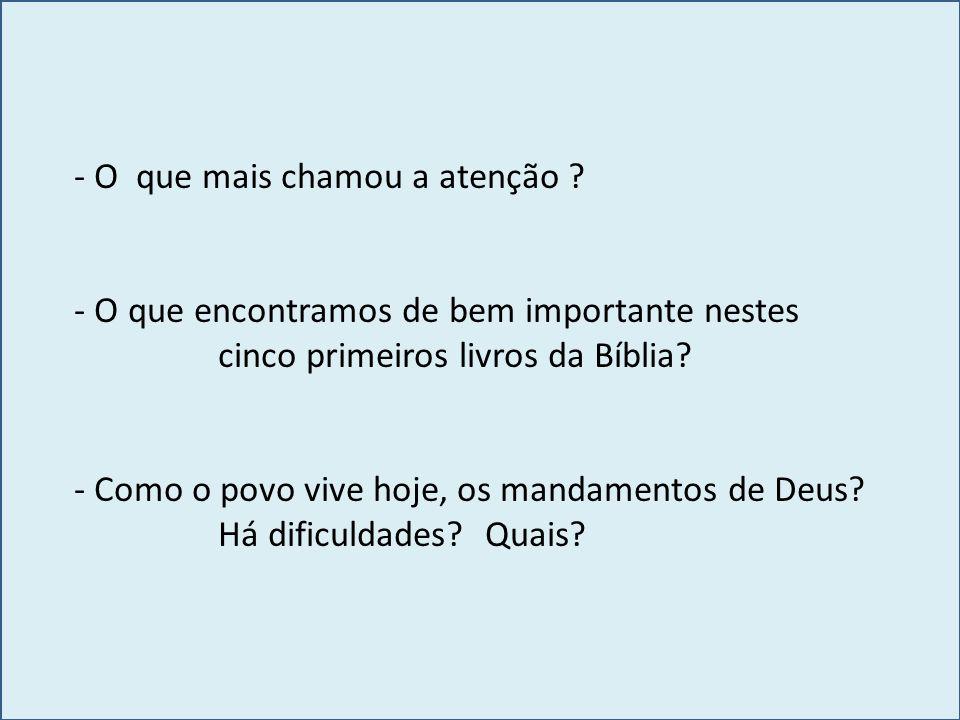 - O que mais chamou a atenção ? - O que encontramos de bem importante nestes cinco primeiros livros da Bíblia? - Como o povo vive hoje, os mandamentos