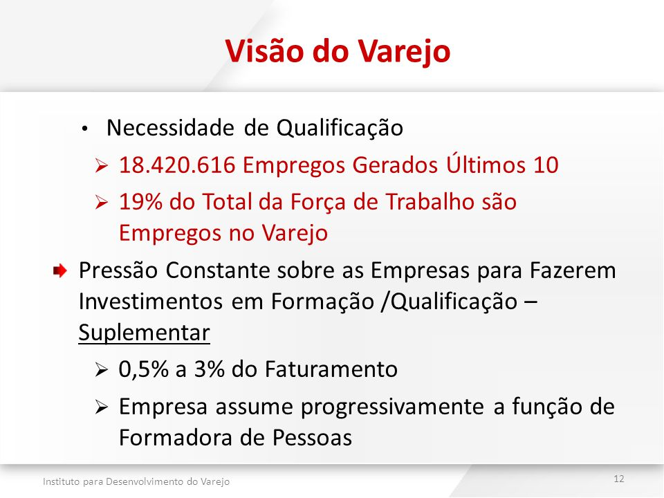 Instituto para Desenvolvimento do Varejo 12 Visão do Varejo Necessidade de Qualificação  18.420.616 Empregos Gerados Últimos 10  19% do Total da For