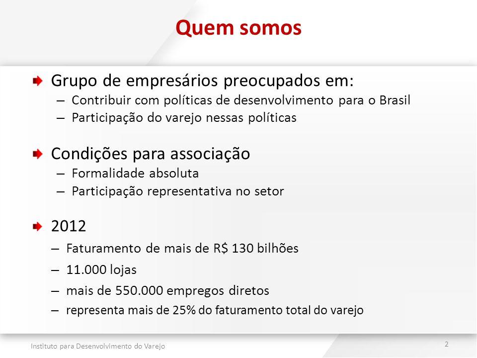 Instituto para Desenvolvimento do Varejo 2 Quem somos Grupo de empresários preocupados em: – Contribuir com políticas de desenvolvimento para o Brasil