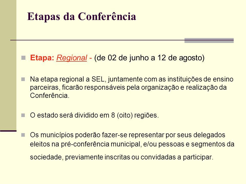 Etapas da Conferência Etapa: Regional - (de 02 de junho a 12 de agosto) Na etapa regional a SEL, juntamente com as instituições de ensino parceiras, f