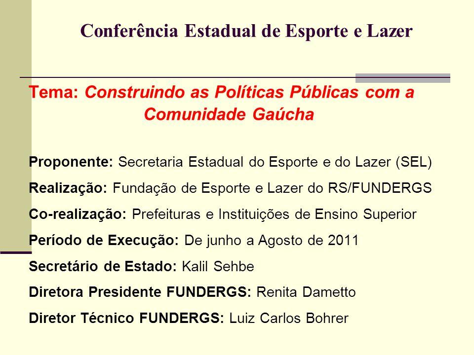 Conferência Estadual de Esporte e Lazer Tema: Construindo as Políticas Públicas com a Comunidade Gaúcha Proponente: Secretaria Estadual do Esporte e d