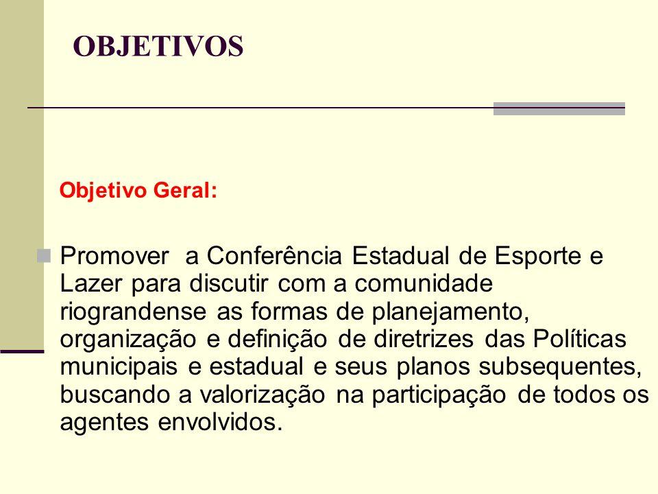 OBJETIVOS Objetivo Geral: Promover a Conferência Estadual de Esporte e Lazer para discutir com a comunidade riograndense as formas de planejamento, or