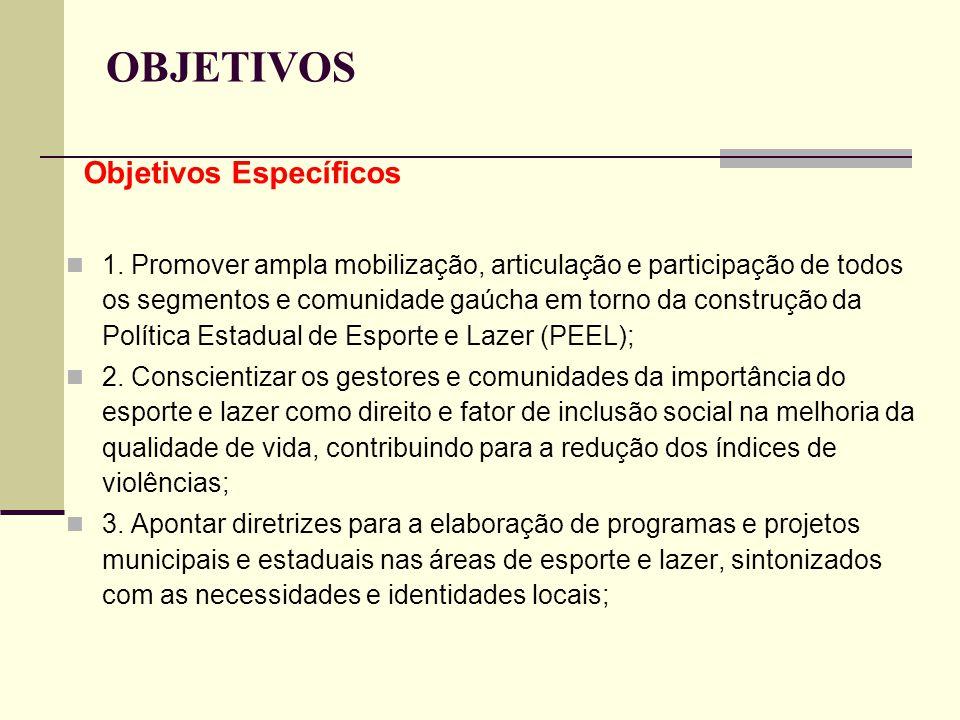 OBJETIVOS Objetivos Específicos 1. Promover ampla mobilização, articulação e participação de todos os segmentos e comunidade gaúcha em torno da constr