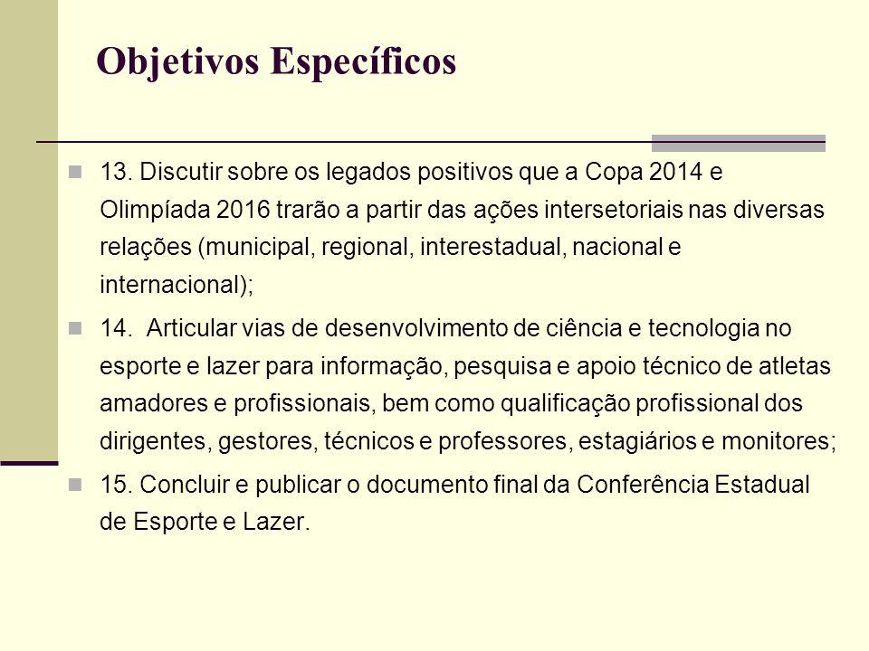 Objetivos Específicos 13. Discutir sobre os legados positivos que a Copa 2014 e Olimpíada 2016 trarão a partir das ações intersetoriais nas diversas r