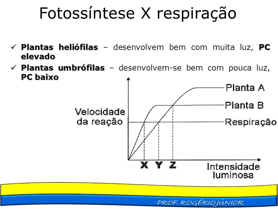 Fotossíntese X respiração Plantas heliófilas PC elevado Plantas heliófilas – desenvolvem bem com muita luz, PC elevado Plantas umbrófilas PC baixo Pla
