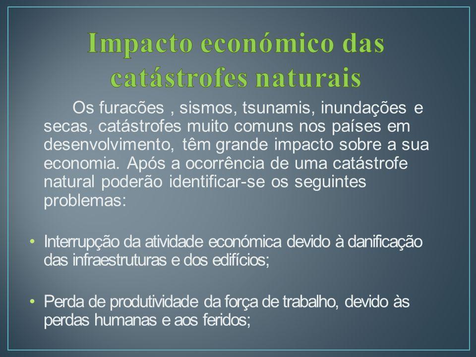 Os furacões, sismos, tsunamis, inundações e secas, catástrofes muito comuns nos países em desenvolvimento, têm grande impacto sobre a sua economia.