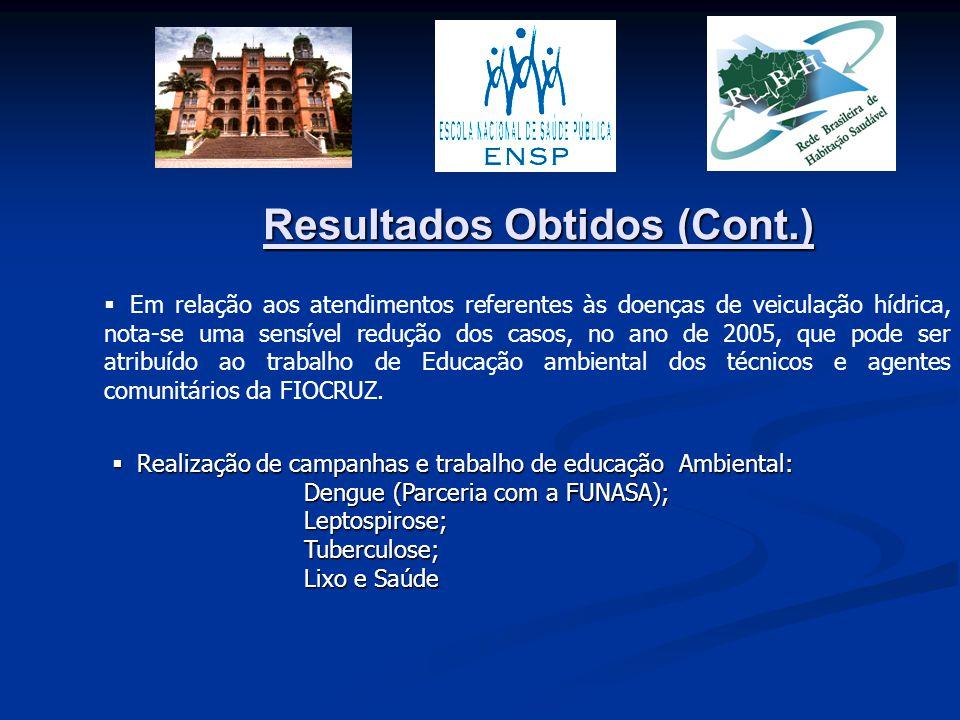 Resultados Obtidos (Cont.)  Em relação aos atendimentos referentes às doenças de veiculação hídrica, nota-se uma sensível redução dos casos, no ano d